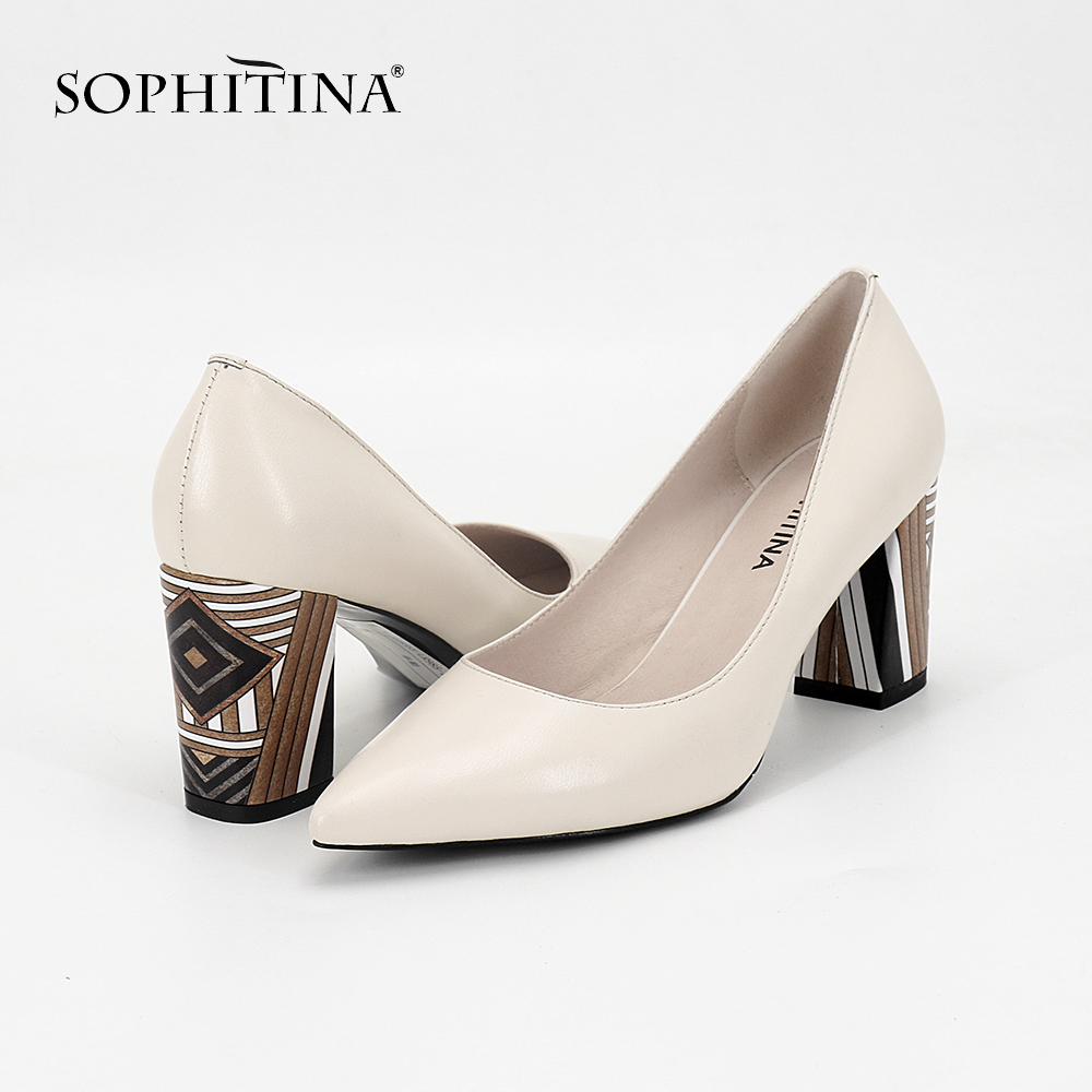 SOPHITINA 2019 Women s Pumps Genuine Leather Fashion High Square Heel Pointed Toe Party Spring Shoes