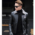 FREE SHIPPING 2017 New Men Black Genuine Leather Jacket Fur Collar Real Thick Cowhide Men Winter Slim Short Coat Factory Direct