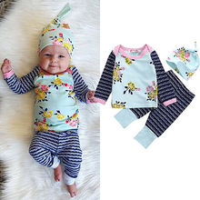 Cute Newborn Baby Girl Boy Clothes Tops T-shirt Long Sleeve + Pants Casual Hat Cap 3pcs Outfits Set Autumn