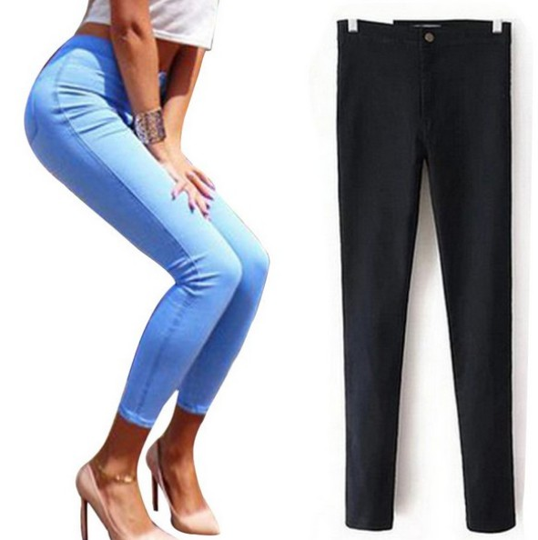 2017 Spring New Women Fashion High Waist Skinny Pencil Pants Casual Slim Sexy Stretch Jeans Trousers Pants 2017 new jeans women spring pants high waist thin slim elastic waist pencil pants fashion denim trousers 3 color plus size