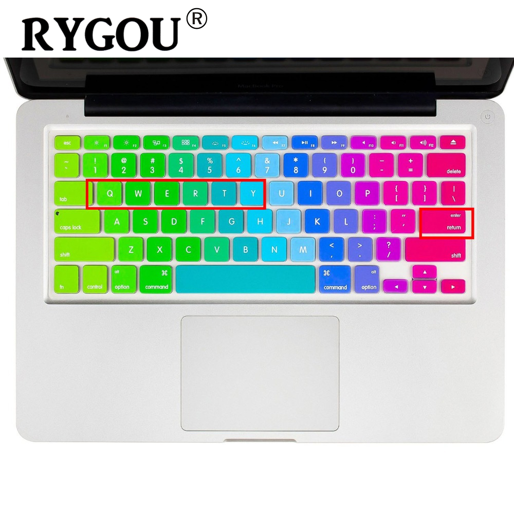 RYGOU US English Alphabet Silicone Keyboard Skin Cover Shield For Apple Macbook Air Pro Retina 13 15 17 ISO Keyboard cover film us eu uk rainbow silicon keyboard cover for apple macbook air 13 pro 15 retina 17 inch protector for imac 21 5 wireless keyboard