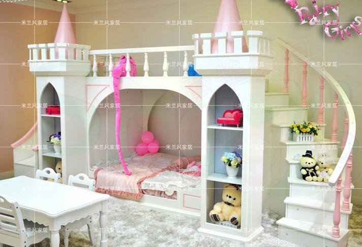 높은 엔드 어린이 이층 침대 나무 침실 가구 공주 요정 왕국 친자 침대 이층 침대 높이-에서높은 엔드