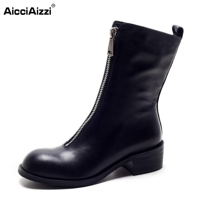 Winter Women Boots Genuine Real Leather Round Toe Zipper Half Boots Female Sqaure Heel Botas Mujer Sexy Women Shoes Size 34-39 spring black coffee genuine leather boots women sexy shoes western round toe zipper mid calf soft heel 3cm solid size 36 39 38