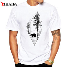 Men T Shirt 3D Print Bear Tree Forest Graphic Tee Short Sleeve White T-Shirts Summer Simple Pattern Tops men forest print tee