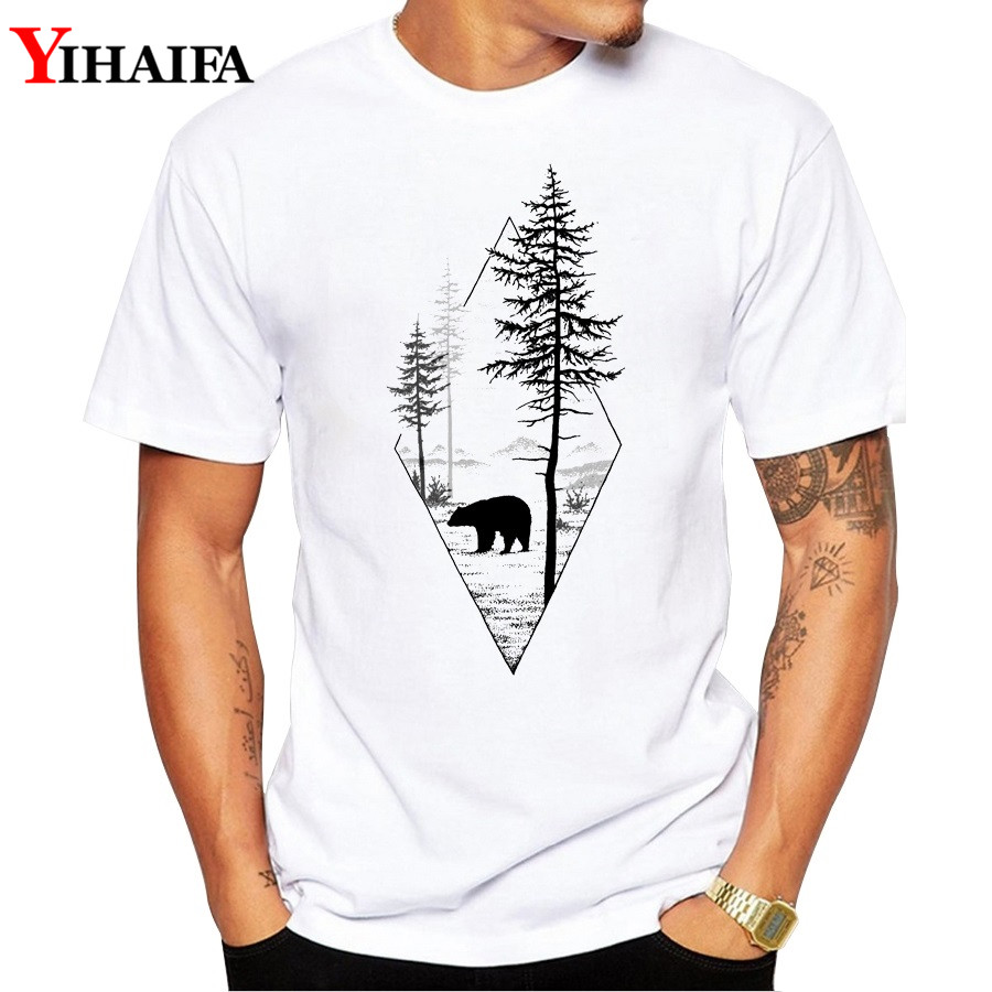 Men T Shirt Gym Print Bear Tree Forest Graphic Tee Short Sleeve White T-Shirts Summer Simple Pattern Tops