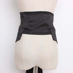 Image 2 - [EAM] 2020 년 봄 여름 블랙 Bangahe Bow 불규칙한 기질 성격 긴 와이드 벨트 여성 패션 All match JR927