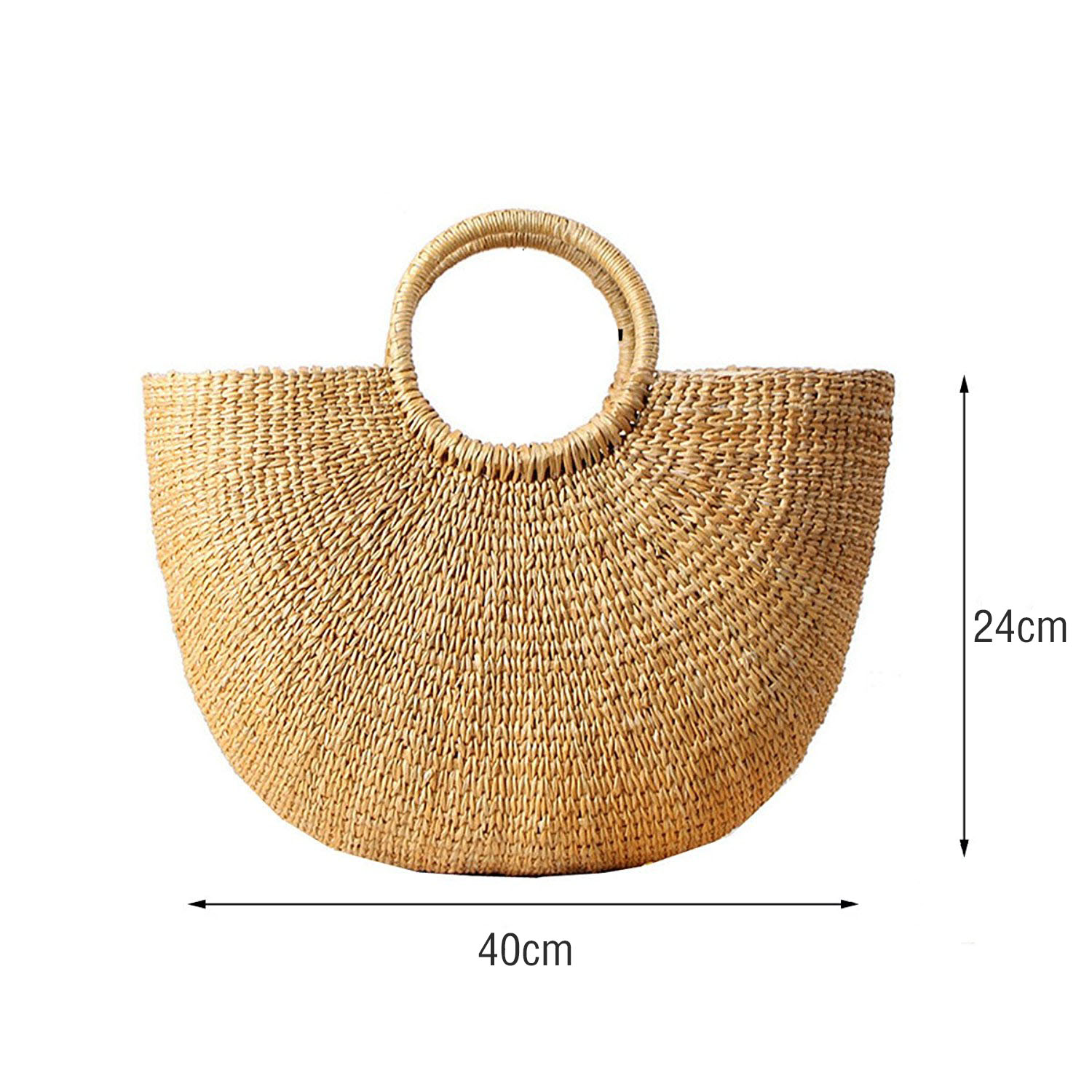 Image 2 - DCOS Womens Vintage Straw Woven Handbags Casual Beach Vacation Large Tote Bags With Round Handle Ring(Hairball)Top-Handle Bags   -