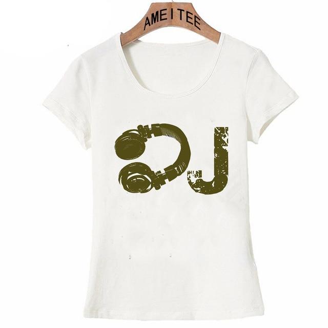 cb67cb0e 2018 New summer casual women short sleeve The DJ design T-Shirt novelty  music T Shirt fashion lady Tops cute Girl Tee