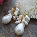 White baroque KESHI  Pearl&Earring-Gold plated LeverBack