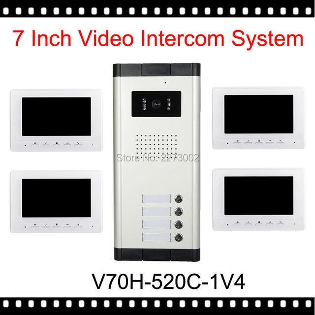 "V70H-520C-1V4 New 7"" Video Intercom Apartment Door Phone Kit 4 White Monitors 1 Outdoor Camera for 4 Family + Access System"