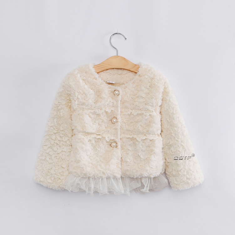 brand baby coat Winter 2016 Children's clothing Girls Korean explosion models pearl lace plush leather jacket grass