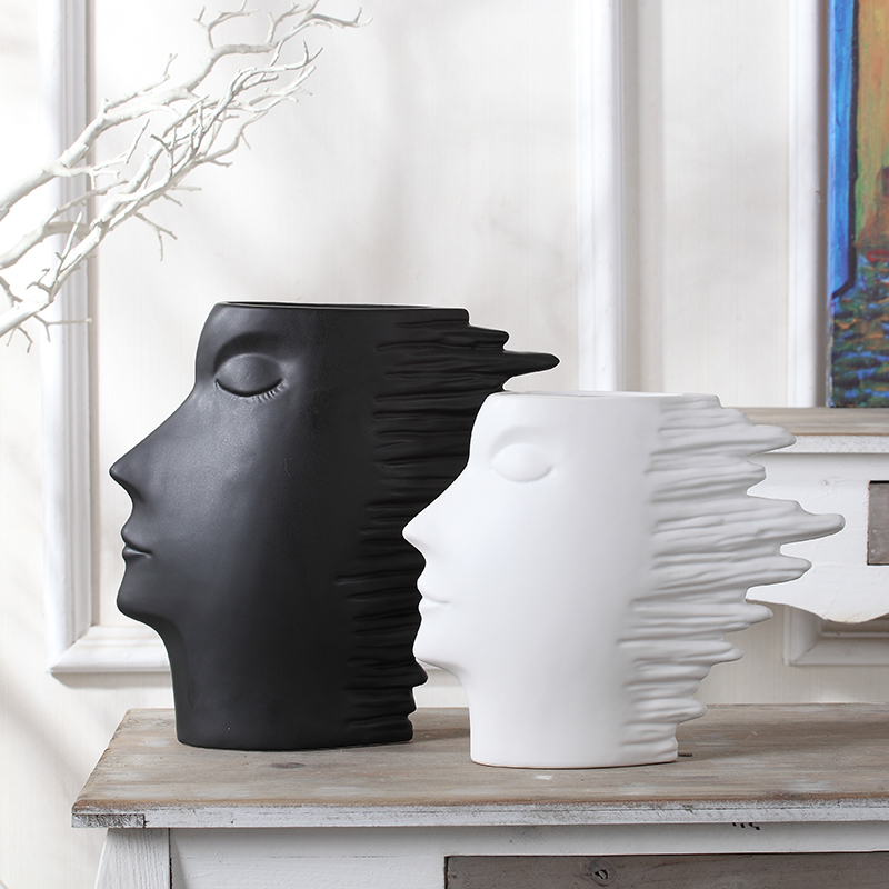 flower vase for flowers decoration accessories ceramic vases white and black head shape abstract human head ornaments