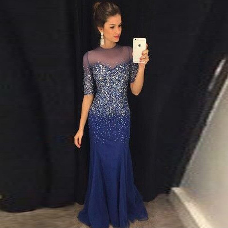 Fashion Evening Dresses Long With Beaded Crystals Sheer Neck Mermaid Half Sleeve Formal Dress Evening Party Gowns vestido longo
