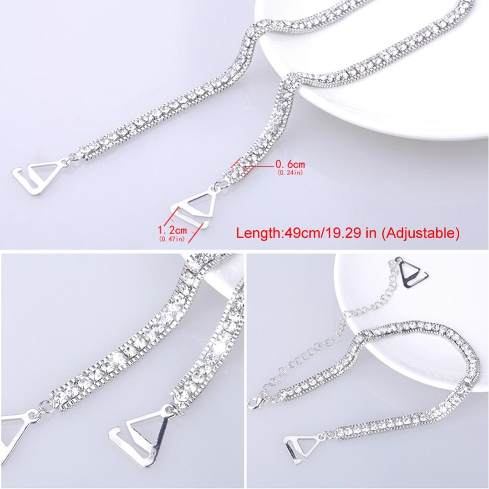 Closecret Women's Dense Rhinestone Bra Straps for Tops,Dress(Silver, 1 Pairs) 8