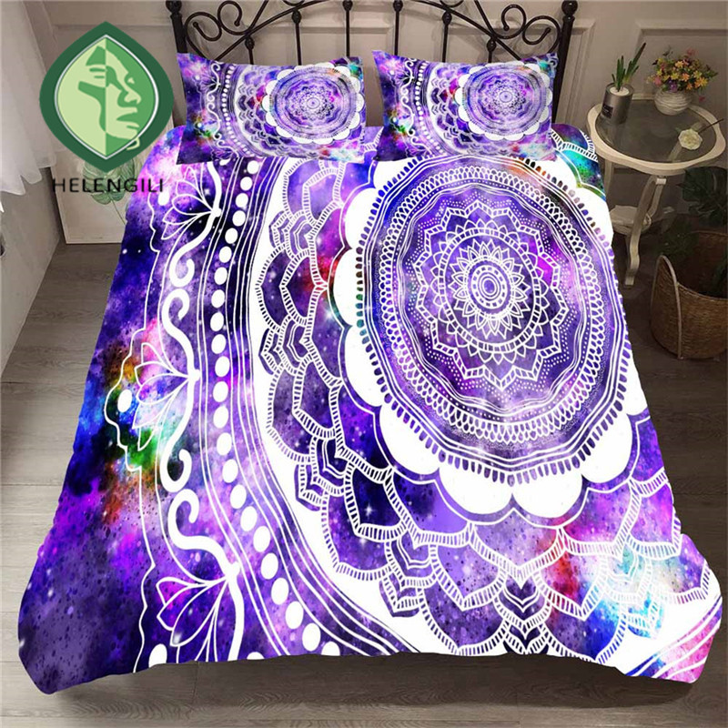 HELENGILI 3D Bedding Set Starry Sky Mandala Print Duvet Cover Set Bedclothes with Pillowcase Bed Set Home Textiles #MTL-04HELENGILI 3D Bedding Set Starry Sky Mandala Print Duvet Cover Set Bedclothes with Pillowcase Bed Set Home Textiles #MTL-04