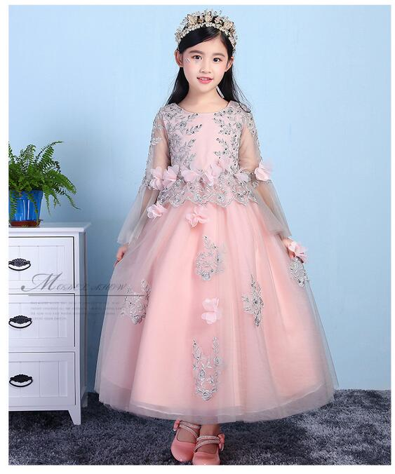 Girls Pageant Long Formal Dresses 2017 Long Sleeve Gauze Ball Gowns Flowers Girls Princess Tutu Dress Kids Party Wedding Dresses cute girls fashion dress summer kid girls sleeveless belt flowers tutu princess party dresses ball gown kids dresses