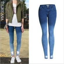 Новый Стиль осень джинсы женщина потертые отверстие стрейч Тонкий градиент цвета значительно тонкий карандаш брюки женские