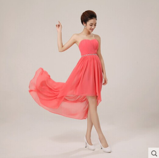 13a59f1c90383 US $35.38 5% OFF|Cheap Chiffon Bridesmaid Dress Under 50 High Low Crystal  Waist Short Front Long Back Prom Party Dress Simple Elegant Vestidos-in ...