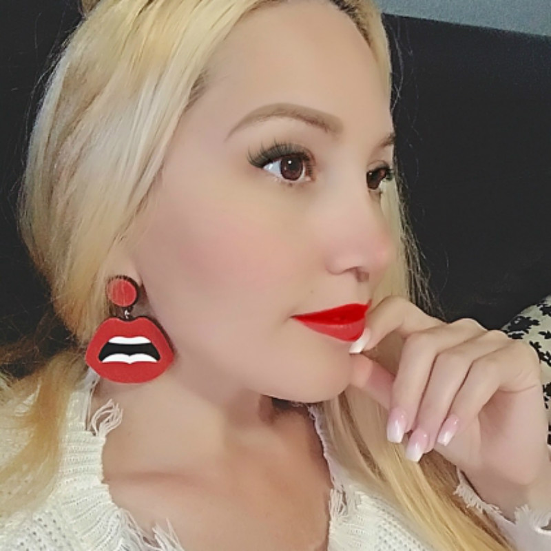 Acrylic Earrings Hip-Hop Face Pendientes Geometric Women New-Fashion For Mujer Night-Club