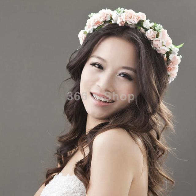 Pink Flower Garland Floral Bridal Headband Bridesmaid Hair band Wedding  Party Free Shipping ece94219d69