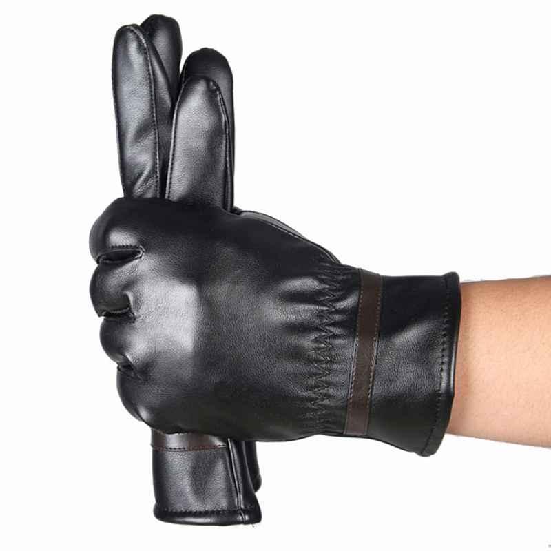 HOT Sale Winter Mens PU Leather Gloves Black Luvas De Couro Motocycle Punk Rock Warm Luva Motoqueiro #OR