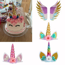 Unicorn kek Topper gökkuşağı kek Toppers doğum günü partisi çocuklar iyilik kek dekorasyon kek Topper bebek duş düğün dekor