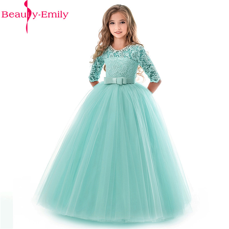 Beauty Emily New O Neck Half Sleeve Flower Girl Dress 2019 Princess Ball Gown Lace Wedding Party Dresses Many Colors Available