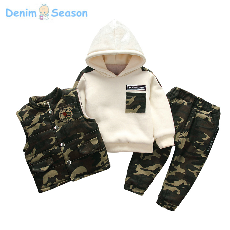 Denim Season Fashion Winter Boy Sweatshirts Cashmere Thick Warm Korean Cool Kid Hoodies Causal Sport Children Clothes Set 3pcs пена монтажная mastertex all season 750 pro всесезонная
