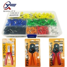 цена на 800pcs E0508 E7508 E2508 E1508 E1008 Cable Wire Terminal Connector with Hand Ferrule Crimper Plier Crimp Tool Kit Set AWG 10-23