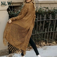 NLW Casual Hollow Out Women Sweater Cardigan Solid Winter Knitted Cardigan Chic Long Tassel Knitwear Cardigans Jumpers