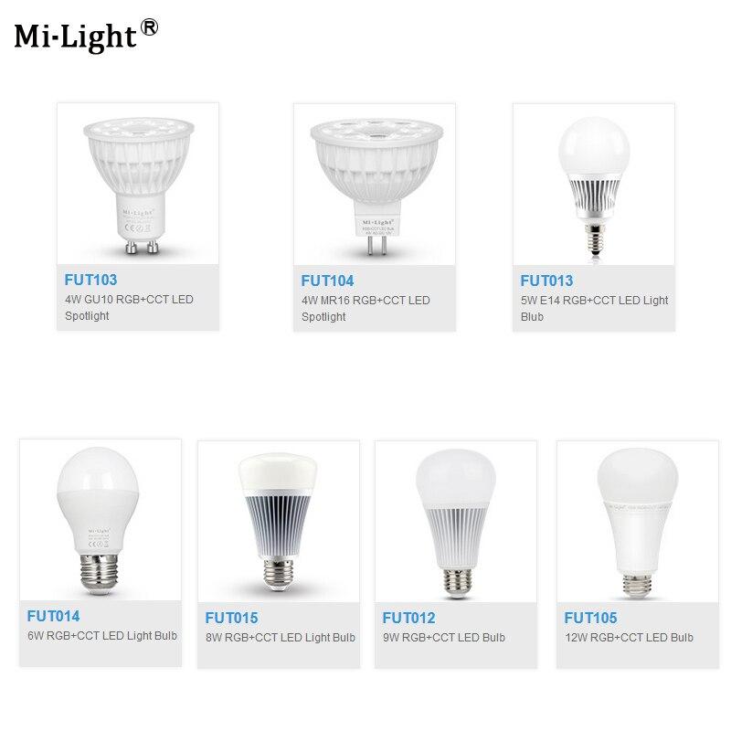 цена на Milight FUT103/FUT104/FUT013/FUT014/FUT015/FUT012/FUT105 4W 5W 6W 8W 9W 12W E14 GU10 MR16 E27 RGB CCT led Light Blub Spotlight