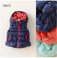 Retail 2016 New Winter Fashion Baby Girls Vest Hooded Solid  Girl Waistcoats Casual Worm Girl Clothes Fashion .