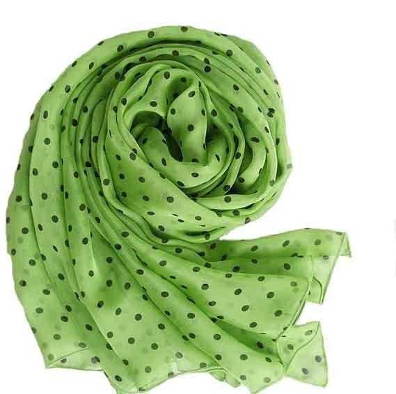 Fantastic beasts circle scarf 100% Natural Silk Green Polka Dot Shawl Women's Designer Foulard Hijab beach wraps sarongs Scarves