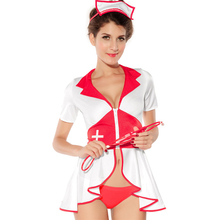 Fantasias Erotic Halloween Cosplay Doctor Nurse Uniform Short Sleeve Zipper Front Dress Female Lingerie Sexy Nurse Costume(China)