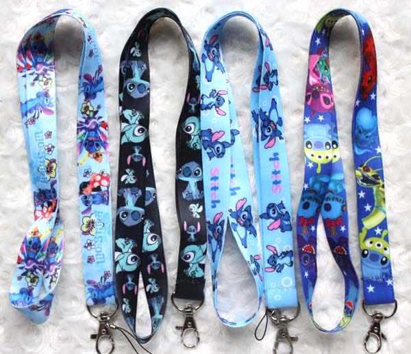 Alta qualidade um Lilo & Stitch chaveiro titular crachá de identificação colhedores keychain tiras longa para o telefone móvel Presentes Do Partido #188