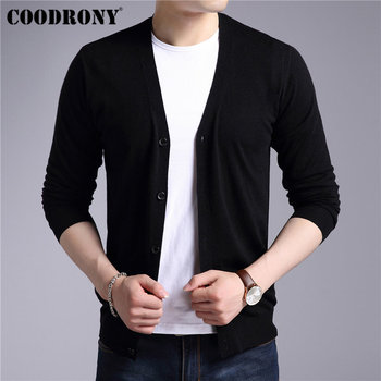 COODRONY Mens Sweaters Cashmere Cotton Sweater Men Pure Color Knitwear Cardigans Classic Casual V-Neck Woolen Cardigan Men 91008