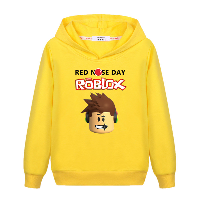 US $11 45 25% OFF|2017 New Kids Roblox Red Nose Day Pullover Hooded  Sweatshirt Boys Girls Autumn Cotton T shirt Fashion Cartoon Tops 3 13  years-in