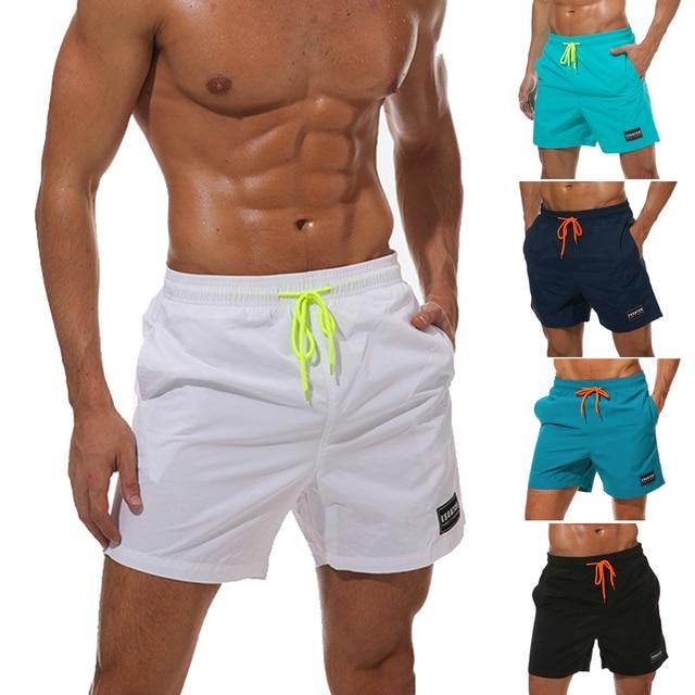 d325b753daada2 Mens Quick-Drying beach Trunks Pants Swimwear Beach Board Shorts Slim Wear  with Pocket Short Pants For 2018