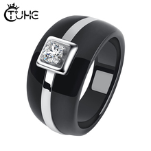 Fashion Mens Ring Simple Style Crystal Stainless SteelRound Band Healthy Ceramic Rings For Men Women Jewelry Gift