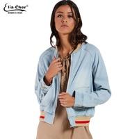 New Elia Cher Brand Women Casual Jacket Zipper Full Sleeve Female Denim Coat Spring Autumn Solid