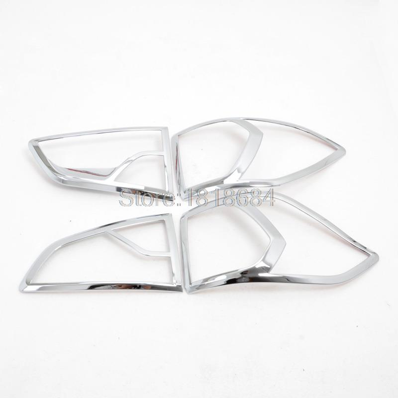 For Ford Ecosport 2013-2016 ABS Chrome Plastic Exterior Rear Taillights Lamp Shade Cover Frame Trims Auto Accessories 4pcs/set