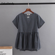 O-neck Plaid Casual Blouse Women Plus Size 3 4 XL Short Sleeve Summer Blouse Yellow Gray Black KKFY1780