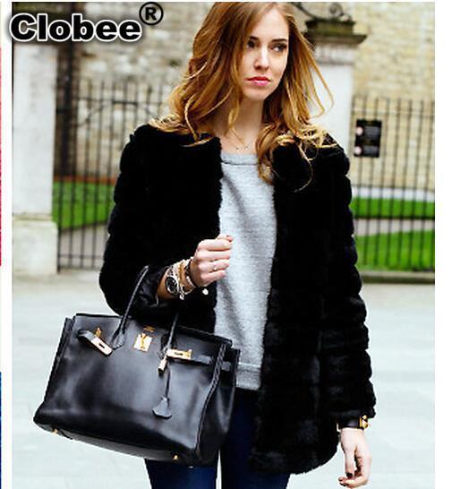2018 6XL Winter Women's Faux Rabbit Fur Coat Fake Fox Fur Medium-long Thicken Fur Coats Plus Size XS 6XL 7XL Black Overcoat WW6