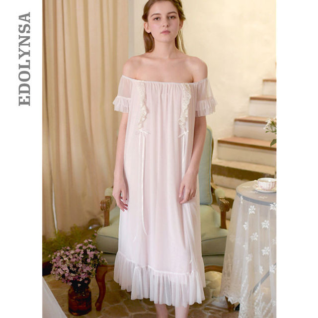 86cab6d6c1a3 Sexy Babydoll Lace Pink Off Shoulder Romance Lingerie Pincess Nightgown  Sleepwear White Cotton Vintage Loose Sleeping Dress T10