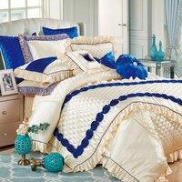 Модный Европейский стиль вышитый шелк хлопок постельное белье 11 шт. постельное белье King size покрывало свадебное пододеяльник набор