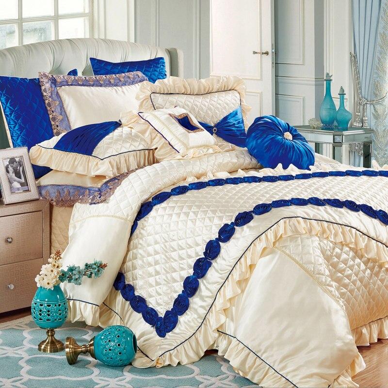 Mode europäischen Stil bestickte Seide Baumwolle Bettwäsche 11pcs Bettwäsche Set King Size Bett Flagge Tagesdecke Hochzeit Bettbezug Set