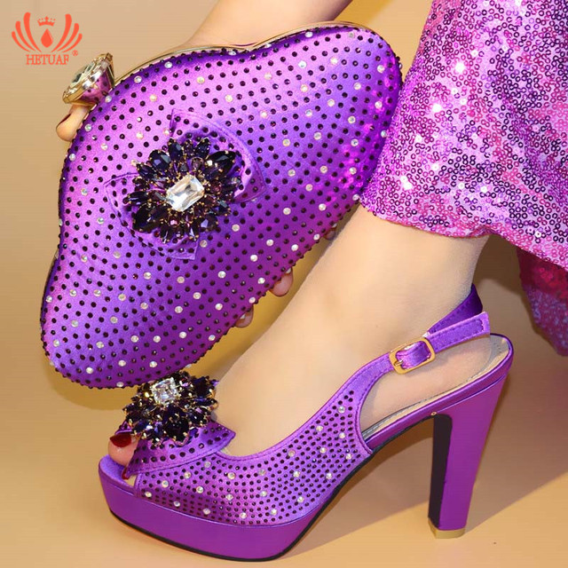 2019 New Design African Shoe And Bag Set For Party Italian Shoe With Matching Bag Matching Purple Shoe And Bag for Wedding Dress