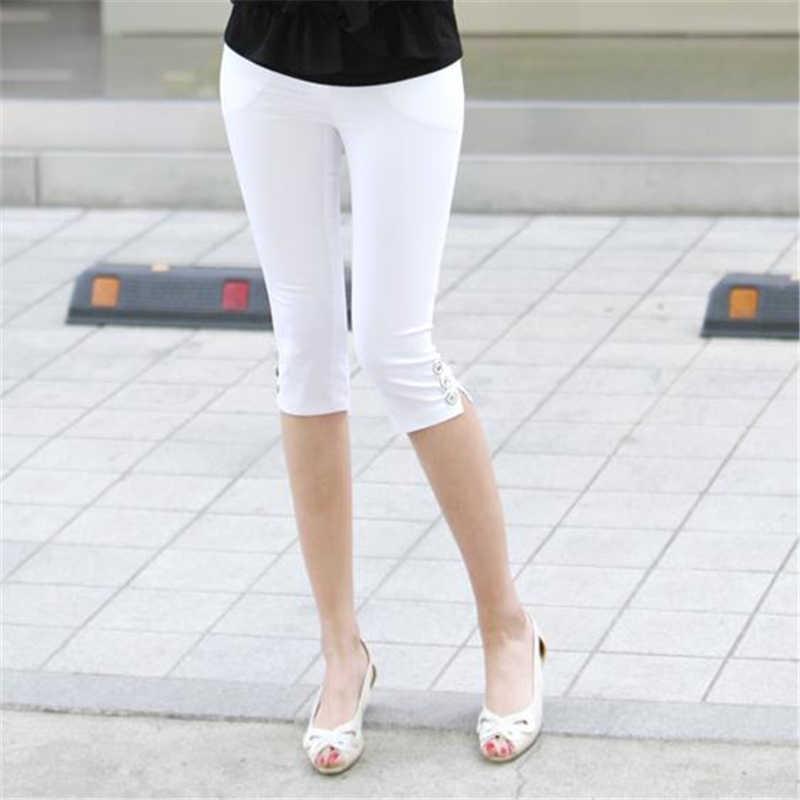 Delle donne di Estate Più Il Formato Pantalons Oversize Sottile Tratto Pantaloni Sottili Leggings Femminili Pantaloni Autunno Skinny Matita di Lunghezza Del Ginocchio Capris