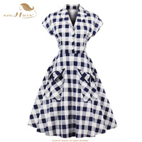 SISHION Retro Vintage Dress Short Sleeve 1950s Style Tunic 2018 Summer Elegant Office robe Rockabilly Women Plaid Dresses VD0614