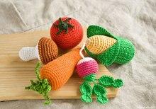 Crochet Baby Rattles Veggies, mushroom, corn, radish, tomato, carrot  friendly crochet toys  for 5 pieces